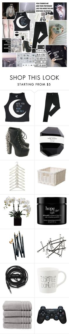 """The shining blade of mine has spilled blood before"" by necrolust ❤ liked on Polyvore featuring GET LOST, Citizens of Humanity, Jeffrey Campbell, philosophy, Bobbi Brown Cosmetics, Urbanears, Christy, Sony, Clips and women's clothing"