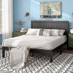 Get inspired by Modern Farmhouse Bedroom Design photo by Laurel Foundry Modern Farmhouse. Wayfair lets you find the designer products in the photo and get ideas from thousands of other Modern Farmhouse Bedroom Design photos. Solid Wood Platform Bed, Platform Bed Frame, Upholstered Platform Bed, Bedroom Furniture, Home Furniture, Bedroom Decor, Master Bedroom, Cheap Furniture, Bedroom Ideas
