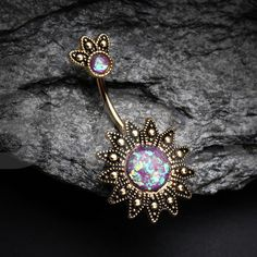 Golden Antique Tribe Sun God Opal Sparkle Belly Button Ring About Golden Antique Tribal Sun God Opal Sparkle Belly Button Ring Pin You can easily use Bellybutton Piercings, Cute Piercings, Navel Piercing, Unique Piercings, Tongue Piercings, Cartilage Piercings, Tragus, Cute Jewelry, Body Jewelry