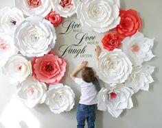 Telón de fondo de flores de papel / flores de papel gigantes de pared / pared de la flor de papel / pared de la boda / novia arco