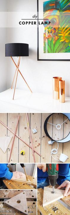Check out the tutorial for an easy to make #DIY #copper lamp #homedecor @istandarddesign