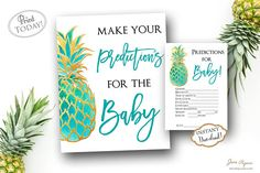 Every new mom needs an advice for family and friends, so add these Predictions for the Baby printables to your baby shower. You can set them up by the gift table so every guest can see them and fill them out and share them with the mom to be. INSTANT DOWNLOAD Printable Teal/Turquoise watercolor gold pineapple Predictions For The Baby sign and card perfect for a tropical luau inspired baby shower celebration. Find more coordinating printables at JanePaperie…