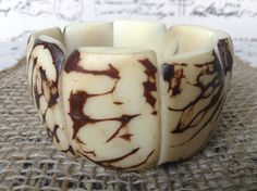 White Ethnic Bracelet Ivory wide cuff bracelet by GalapagosTagua