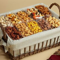 This would be really simple to do when you need many gifts. Just go to costco and get some different kind of nuts and trail mix. Informations About Snack Attack Gift Basket P Gourmet Gift Baskets, Gourmet Gifts, Fruit Gifts, Food Gifts, Honey Roasted Peanuts, Ramadan Decorations, Partys, Food Presentation, Catering