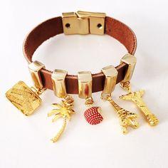Bracelete em couro viagens
