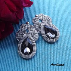 Short Grey soutache earrings by RhodianaSoutache on Etsy