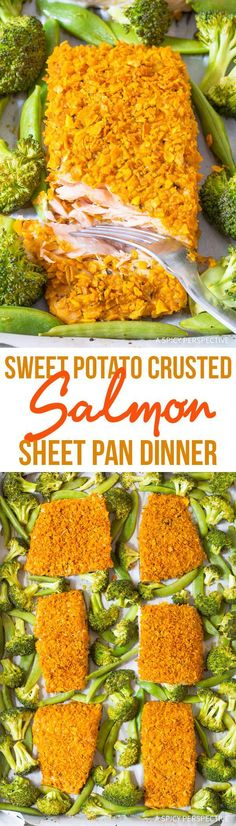 Crispy Sweet Potato Crusted Salmon Sheet Pan Dinner Recipe via @spicyperspectiv
