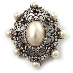 Antique Pearl Filigree Brooch