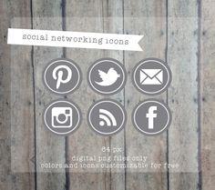 Social media icons for blog or website