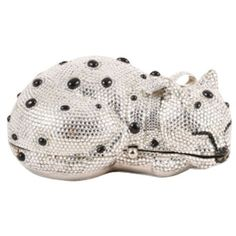 Pre-Owned Judith Leiber silver/black Rhinestone Cat Minaudiere Clutch ($1,505) ❤ liked on Polyvore featuring bags, handbags, clutches, multi, judith leiber purse, rhinestone purses, polka dot purse, cat handbags and metallic purse