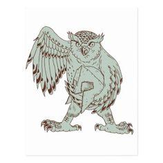Owl Holding Spartan Helmet Drawing Postcard - postcard post card postcards unique diy cyo customize personalize