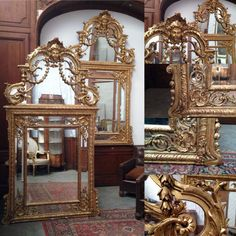 paire de miroir louis XIV en bois sculptée dorée à l'or fin . XIX siècle .