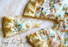 caramelized onion tart with guyere + fresh thyme.