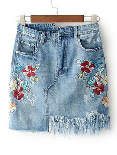 Shop Frayed Hem Denim Bodycon Skirt online. SheIn offers Frayed Hem Denim Bodycon Skirt & more to fit your fashionable needs.