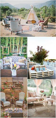 Rustic Wedding Lounge Sofa Decor Ideas / http://www.deerpearlflowers.com/wedding-reception-lounge-ideas/