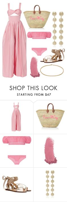 """Rosé"" by cherieaustin on Polyvore featuring Rosie Assoulin, Lisa Marie Fernandez, Gucci, Valentino and NESSA"
