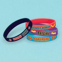 Superhero Girls Party Supplies, DC Superhero Girls Rubber Wristbands, Favors