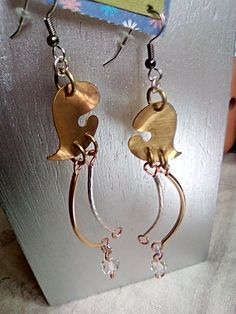 Brass Hearts with Antique Glass Charms