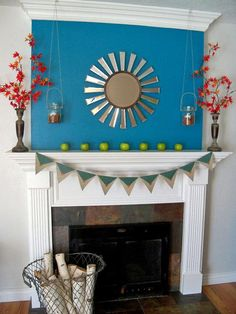 Paint above mantel: like the idea, not so much the color