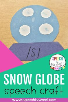 Your speech-language therapy students will love making this fun and hands-on snow globe craft! This is the perfect craft for winter speech therapy and it requires minimal prep work. You can use it to address articulation, apraxia, phonology, grammar, and more! | Speech is Sweet