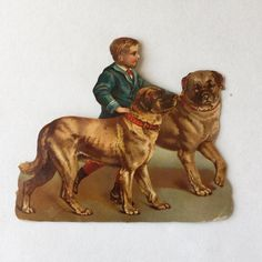 Victorian Lithograph Boy with English Mastiff Dogs Scrapbook Print Large Chromolithography by GardenBarn on Etsy https://www.etsy.com/listing/219175977/victorian-lithograph-boy-with-english