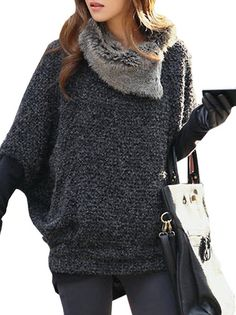 Amazing Fur Collar Bat Sleeves Solid Color Sweater Gray on buytrends.com
