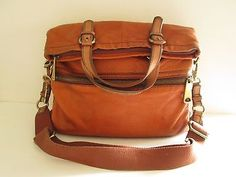 FOSSIL Worldwid Explorer Leather Foldover Messenger Cross body Satchel Bag