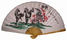 "Classic 35"" Oriental Feng Shui Wall Fan-Double Horses  Price: $13.99"
