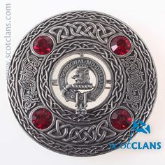 MacGregor Clan Crest Plaid Brooch. Free worldwide shipping available.