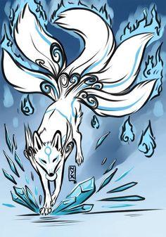 Kitsune Kid [Com] by Nievaris blue okami Cute Drawings, Animal Drawings, Theme Tattoo, Rabe Tattoo, Mythical Creatures Art, Amaterasu, Anime Wolf, Fox Art, Anime Animals