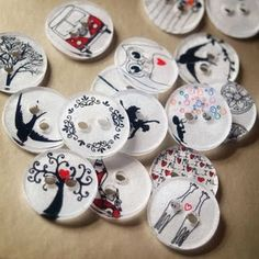 Buttons from shrink plastic