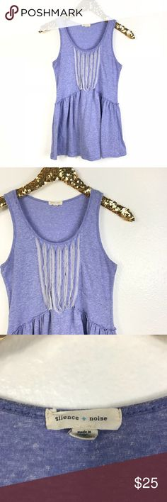 Silence + Noice  | Purple Frayed Detail Tank In Perfect Pre-Loved Condition! A orettt light purple with some gray detail in the center. Super cute and perfect for spring and summer! Pair with some skinny jeans and a pair of detailed flats! 💕B3-137 Measurements: L-24.5in. W-13in. silence + noise Tops Tank Tops