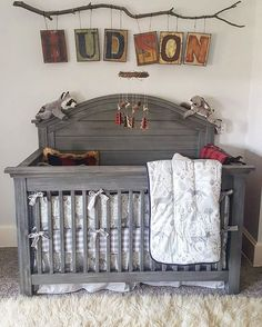 """88 Likes, 4 Comments - Carousel Designs (@carouseldesigns) on Instagram: """"We love sharing our customers' nursery design skills and creativity. Our Navy and Gray Woodland…"""""""