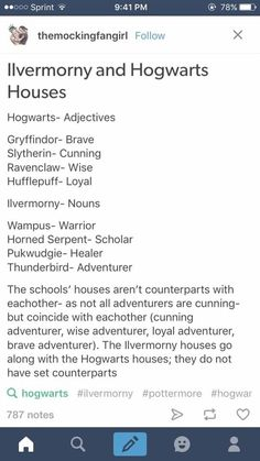"Ilvermorny and Hogwarts Houses <~~ This! Because I""m Hufflepuff & Thunderbird"