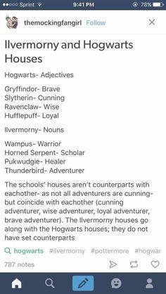 "Ilvermorny and Hogwarts Houses <~~ This! Because I""m Hufflepuff & Thunderbird"