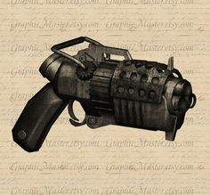 Steampunk Weapon Gun Printable Graphics Digital Collage Sheet Image Download Iron On Transfer Prints Fabric Pillows Tea Towels Tote Bags a77. $1.00, via Etsy.
