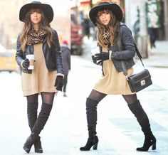 Dailylook Dress, Guess? Boots, H&M Hat