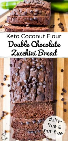 This Keto Coconut Flour Double Chocolate Zucchini Bread is the perfect way to sneak in some veggies for breakfast, snack, or in a school lunch. It's a protein-rich coconut flour bread that's Zucchini Banana Bread, Chocolate Zucchini Bread, Zucchini Bread Recipes, Vegan Chocolate, No Bread Diet, Best Keto Bread, Low Carb Bread, Keto Cookies, Almond Cookies