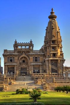 Baron Empain Palace in Cairo, Egypt ~ The palace was designed by French architect Alexandre Marcel and decorated by Georges-Louis Claude. Inspired by the Angkor Wat༺ ♠ ༻*ŦƶȠ*༺ ♠ ༻