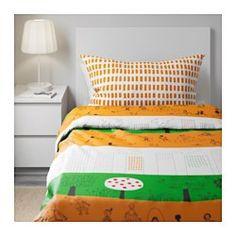 ÖNSKEDRÖM Funda nórd y funda para almohada, naranja, verde/blanco - naranja/verde/blanco - IKEA