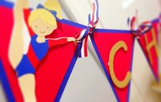 All American Gymnastics Party Banner Red by TakeitPersonallybyM, $28.00