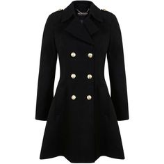 Miss Selfridge Black military coat ($52) ❤ liked on Polyvore featuring outerwear, coats, jackets, black, clearance, miss selfridge, miss selfridge coats, field coat and military coat