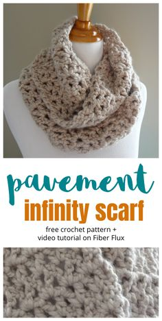 Pavement Infinity Scarf, free crochet pattern + full video tutorial on Fiber Flux Crochet Infinity Scarf Free Pattern, Chunky Crochet Scarf, Crochet Stitches Patterns, Crochet Scarves, Crochet Shawl, Crochet Designs, Knit Stitches, Knitting Patterns, Crochet Granny