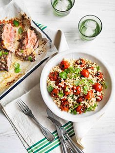 Fregola and roast tomato salad with barbecued lamb shoulder