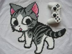 Chi - Chi's Sweet Home hama perler beads by Perler Bead Designs, Pearler Bead Patterns, Perler Patterns, Perler Beads, Perler Bead Art, Fuse Beads, Chi Le Chat, Pixel Art, Hama Pokemon
