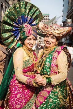 Maharashtrian women dressed in traditional costumes attend celebrations to mark the Hindu Gudi Padwa festival.