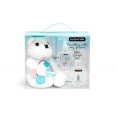Coffret cadeau BabyCologne de Suavinex avec 100ml de BabyCologne dans un flacon en verre + 50ml dans un flacon de voyage et notre TeddyBear pour accompagner bébé partout. #peluche #ourson #cadeau #naissance #parfum #bébé #Suavinex