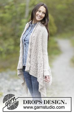 """Falling Leaves - Knitted DROPS jacket worked in a square in garter st with lace pattern, worked top down in """"Alpaca"""" and """"Kid-Silk"""". - Free pattern by DROPS Design Knit Cardigan Pattern, Vest Pattern, Free Pattern, Drops Design, Knitting Patterns Free, Free Knitting, Magazine Drops, Diy Tops, Cable Knitting"""
