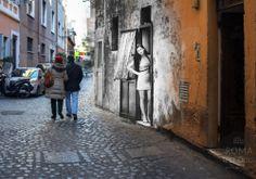 La bella trasteverina in Vicolo Moroni - #roma #rome #rephotography #romaierioggi