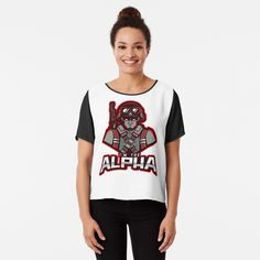 'I'm The Alpha Chiffon Top by CavemanMedia Alpha Apparel, Work From Home Moms, Mom And Dad, Chiffon Tops, Cami, Fitness Models, Printed, Awesome, Sleeves